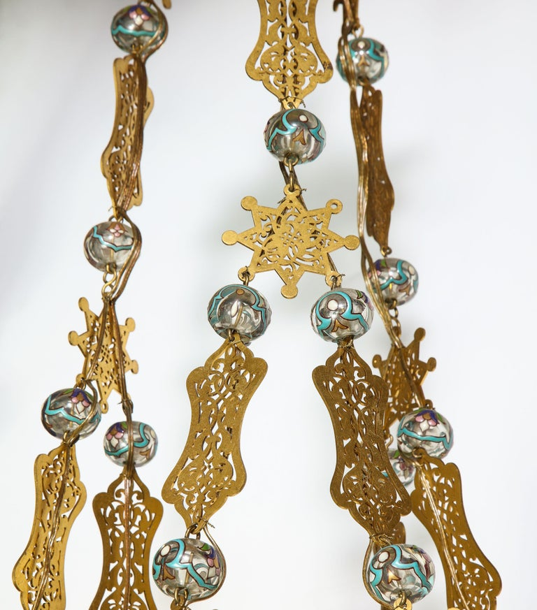 Exceptional and Rare Islamic Alhambra Bronze and Enameled Glass Chandelier For Sale 7