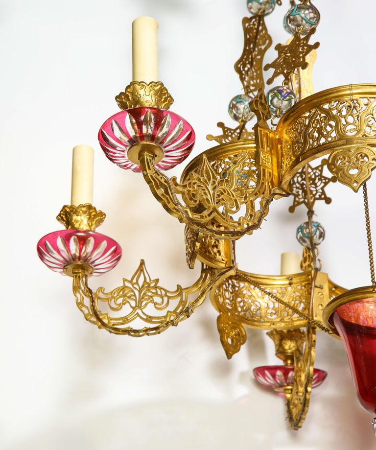 Exceptional and Rare Islamic Alhambra Bronze and Enameled Glass Chandelier For Sale 10