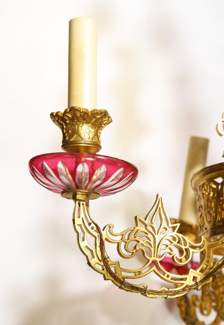 Exceptional and Rare Islamic Alhambra Bronze and Enameled Glass Chandelier For Sale 13