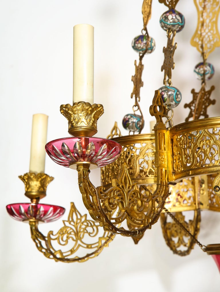 19th Century Exceptional and Rare Islamic Alhambra Bronze and Enameled Glass Chandelier For Sale