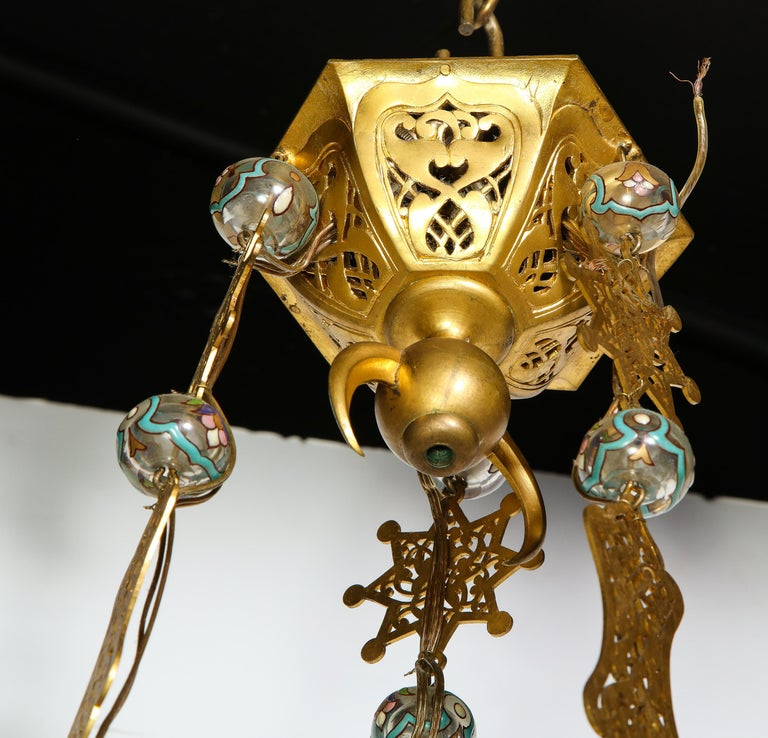 Exceptional and Rare Islamic Alhambra Bronze and Enameled Glass Chandelier For Sale 4
