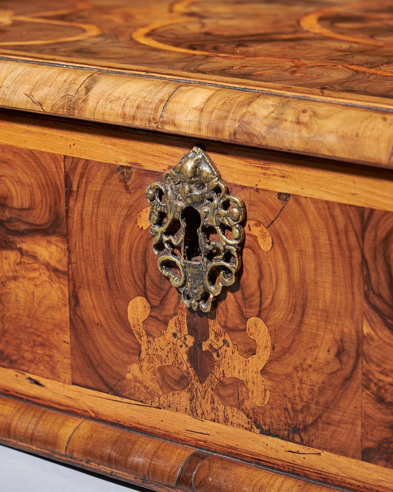Marquetry Exceptional Charles II Blond Olive Oyster Lace-Box of Large Scale For Sale
