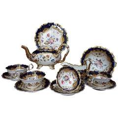 English H & R Daniel Tea Set for 4 Shrewsbury pattern Cobalt Blue 19th Century