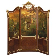 Exceptional Gilt-Bronze Mounted Vernis Martin Three-Fold Screen, circa 1890