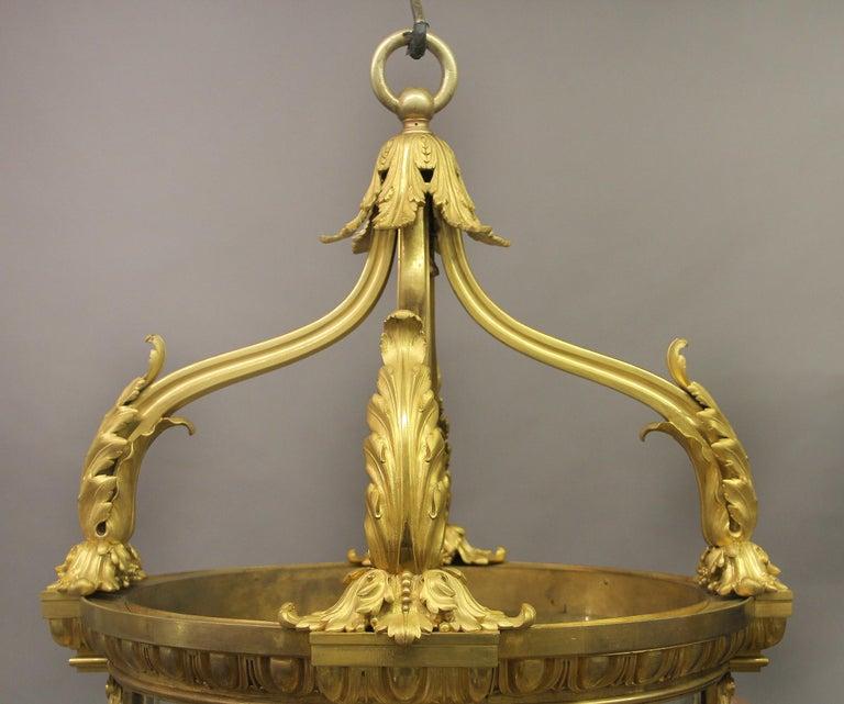 Belle Époque Exceptional Late 19th Century Gilt Bronze Palatial Eight Light Lantern For Sale