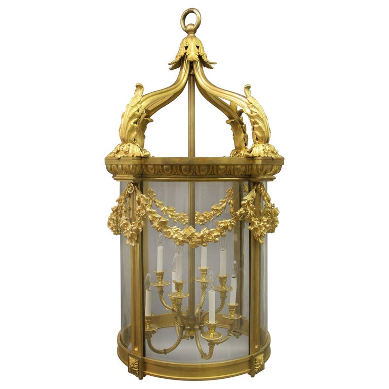 Exceptional Late 19th Century Gilt Bronze Palatial Eight Light Lantern For Sale