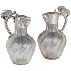 Exceptional Pair of French Silver Claret Jugs