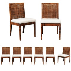 Exceptional Set of Eight Vintage Caramel Cane Dining Chairs by Bielecky Brothers