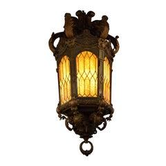 Exquisite Bronze Lantern with Stained Glass Panels