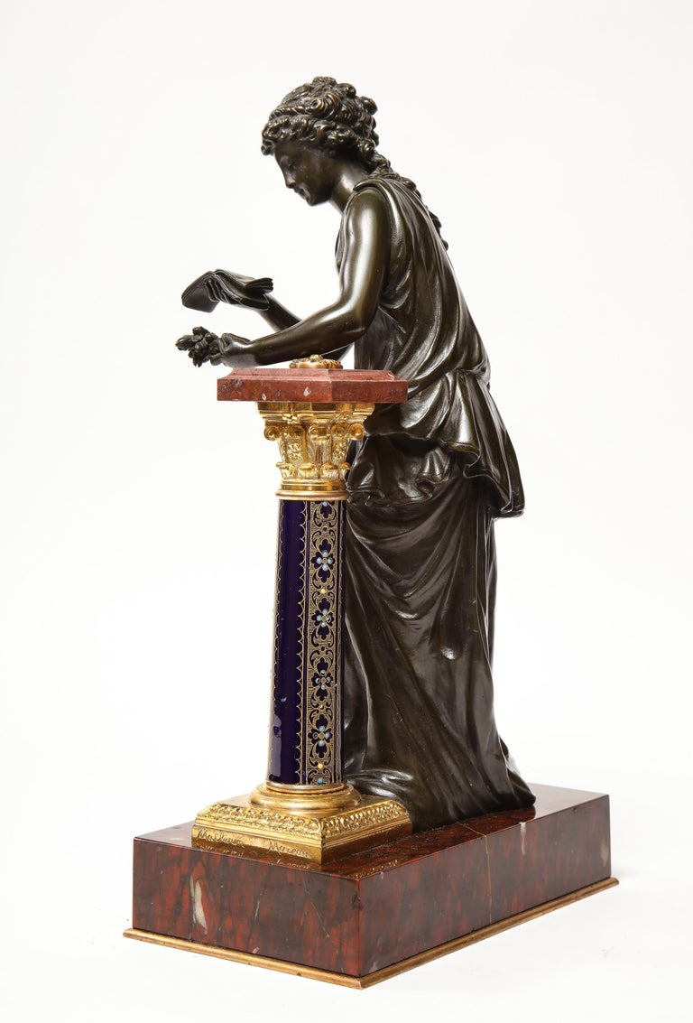 Exquisite French Bronze, Rouge Marble, and Sèvres Style Porcelain Sculpture For Sale 5