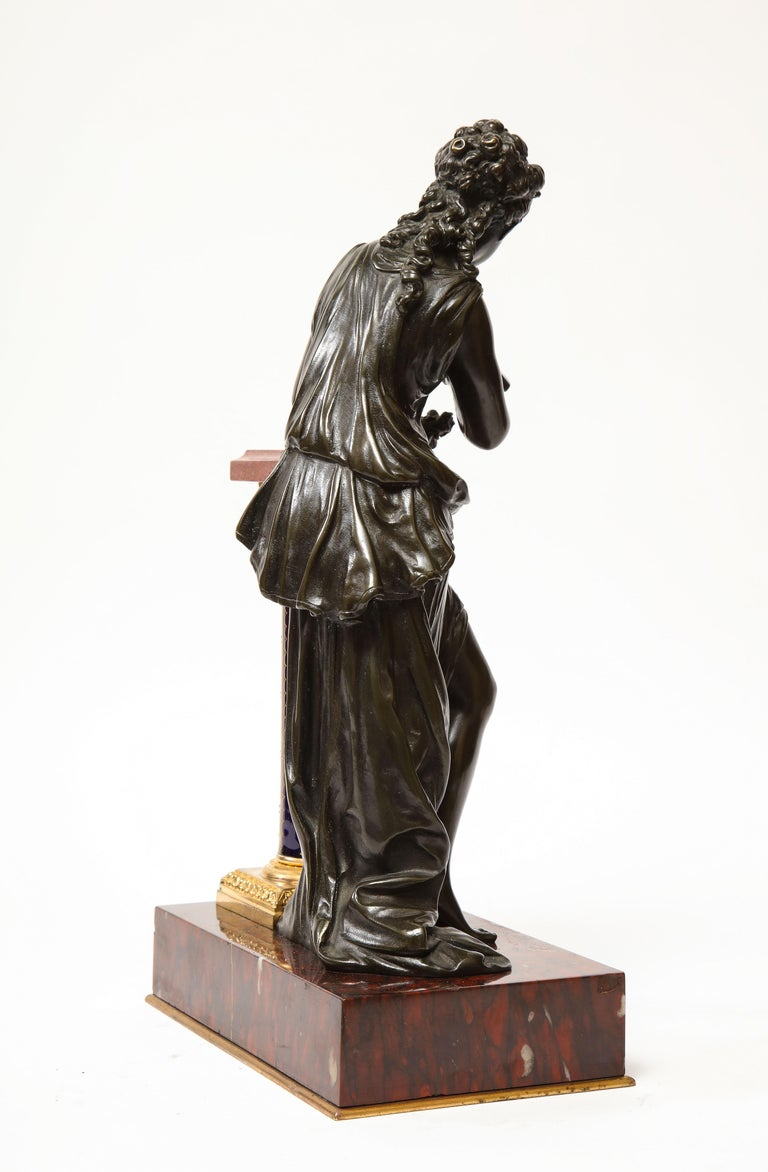 Exquisite French Bronze, Rouge Marble, and Sèvres Style Porcelain Sculpture For Sale 7
