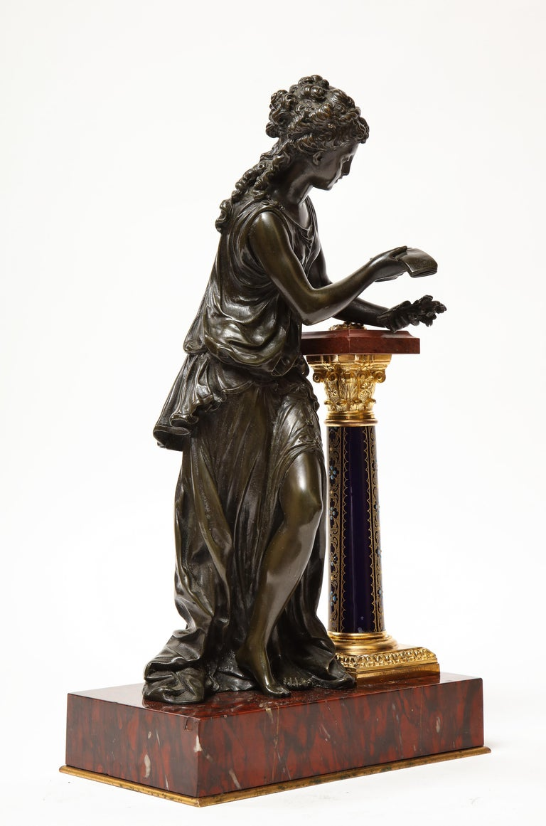 Exquisite French Bronze, Rouge Marble, and Sèvres Style Porcelain Sculpture For Sale 10