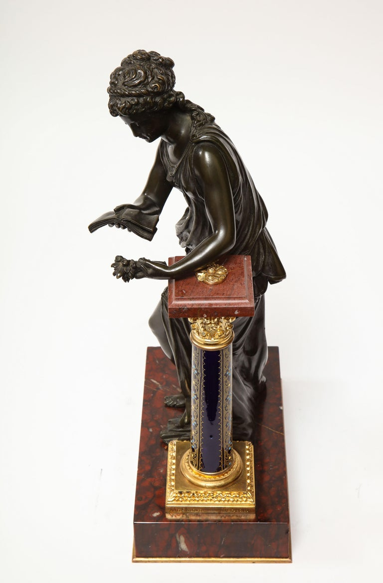 Exquisite French Bronze, Rouge Marble, and Sèvres Style Porcelain Sculpture For Sale 14