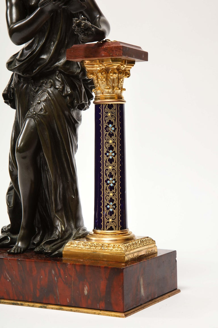 Napoleon III Exquisite French Bronze, Rouge Marble, and Sèvres Style Porcelain Sculpture For Sale