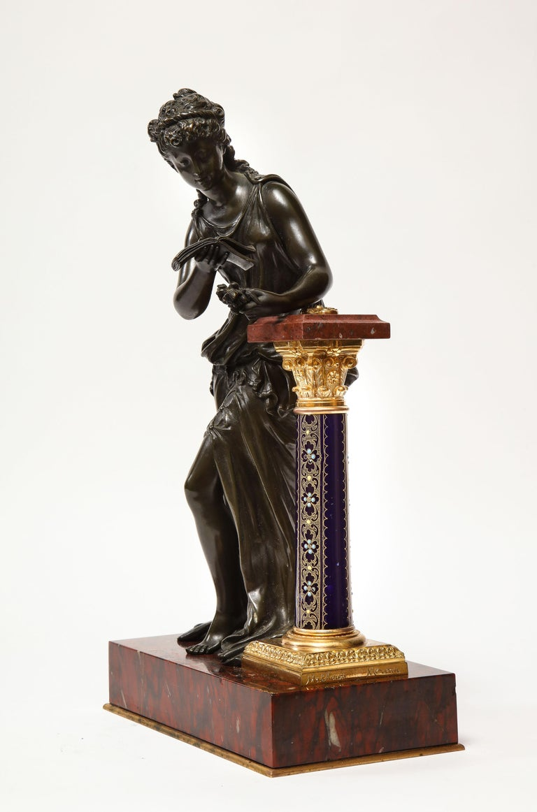 Exquisite French Bronze, Rouge Marble, and Sèvres Style Porcelain Sculpture In Good Condition For Sale In New York, NY