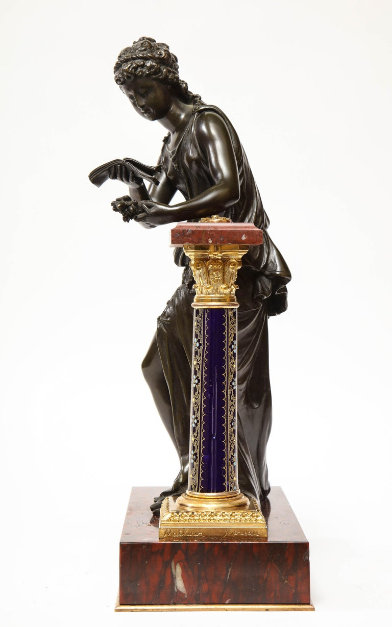 Exquisite French Bronze, Rouge Marble, and Sèvres Style Porcelain Sculpture For Sale 2