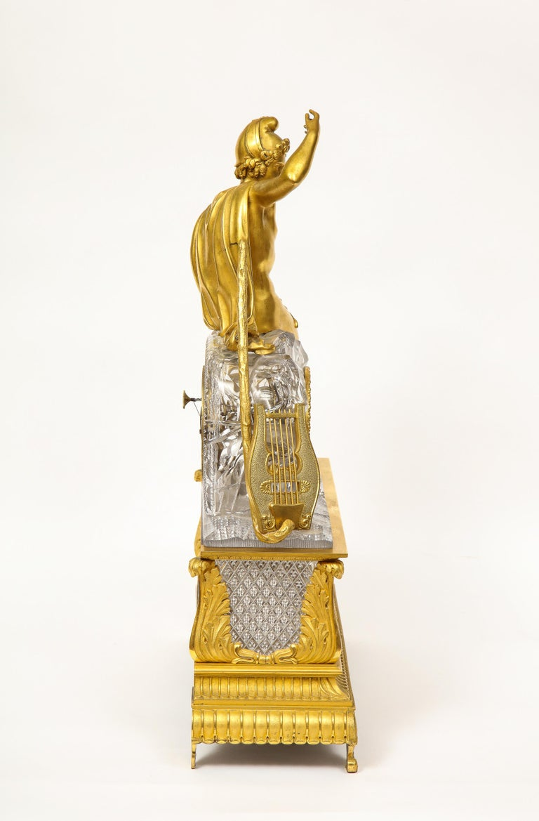 Exquisite French Empire Ormolu and Cut-Crystal Clock, c. 1815 For Sale 5
