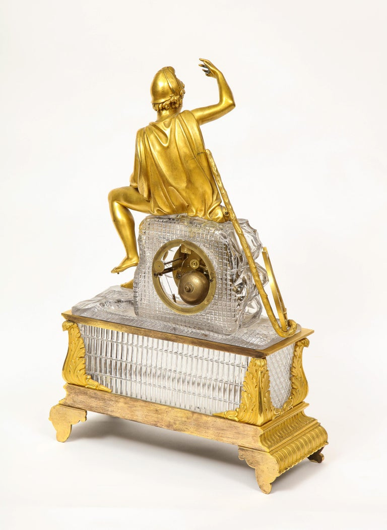 Exquisite French Empire Ormolu and Cut-Crystal Clock, c. 1815 For Sale 6