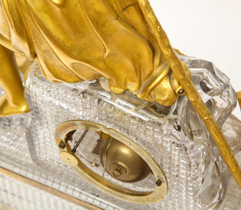 Exquisite French Empire Ormolu and Cut-Crystal Clock, c. 1815 For Sale 7