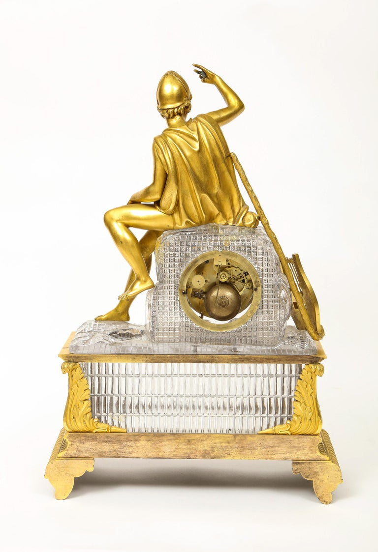 Exquisite French Empire Ormolu and Cut-Crystal Clock, c. 1815 For Sale 8