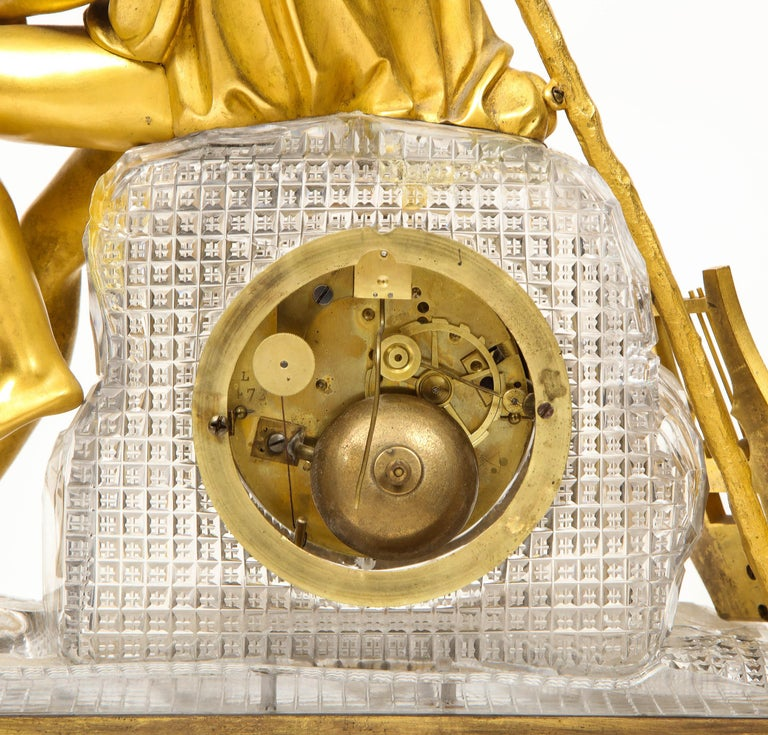 Exquisite French Empire Ormolu and Cut-Crystal Clock, c. 1815 For Sale 9