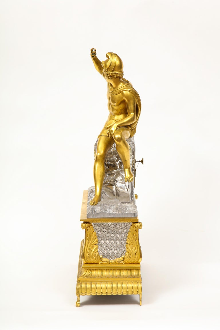 Exquisite French Empire Ormolu and Cut-Crystal Clock, c. 1815 For Sale 10