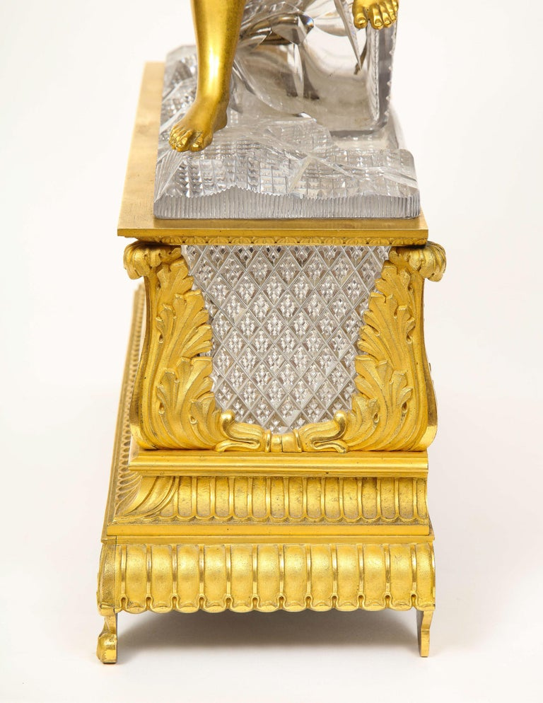 Exquisite French Empire Ormolu and Cut-Crystal Clock, c. 1815 For Sale 11