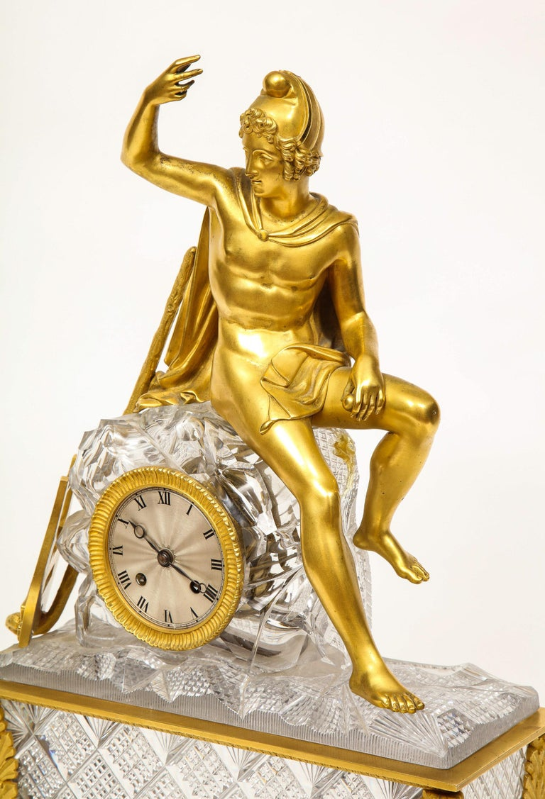 Exquisite French Empire Ormolu and Cut-Crystal Clock, c. 1815 For Sale 12