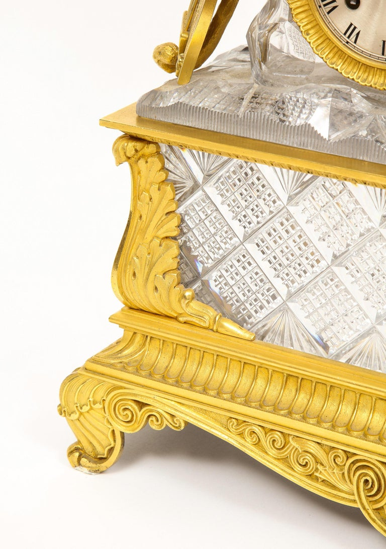 Exquisite French Empire Ormolu and Cut-Crystal Clock, c. 1815 For Sale 13