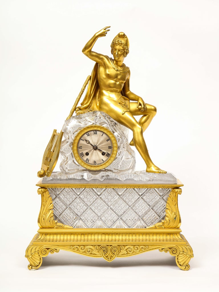 Exquisite French Empire Ormolu and Cut-Crystal Clock, c. 1815 For Sale 16