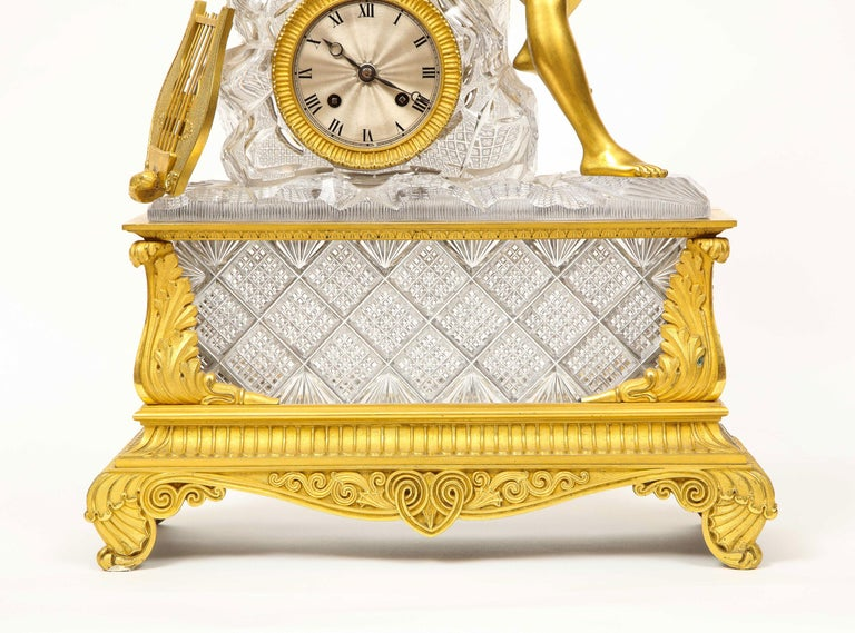 Exquisite French Empire Ormolu and Cut-Crystal Clock, c. 1815 In Good Condition For Sale In New York, NY