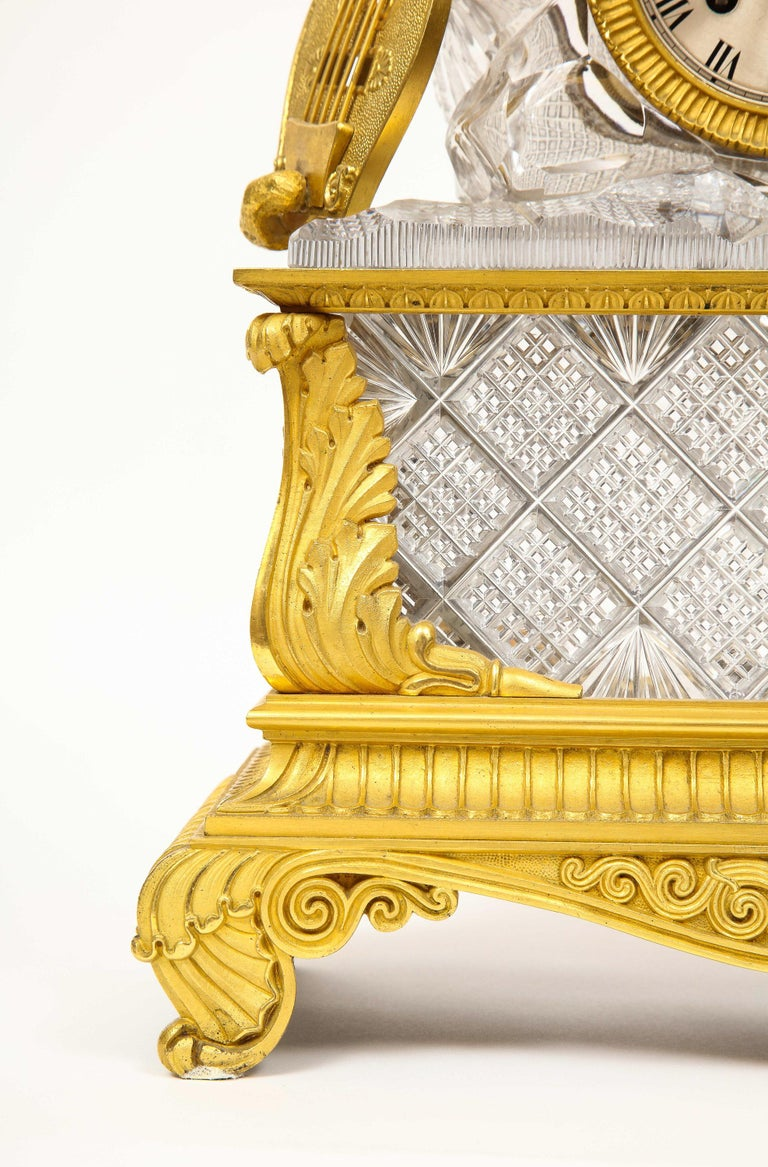 19th Century Exquisite French Empire Ormolu and Cut-Crystal Clock, c. 1815 For Sale