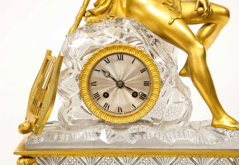 Exquisite French Empire Ormolu and Cut-Crystal Clock, c. 1815 For Sale 2