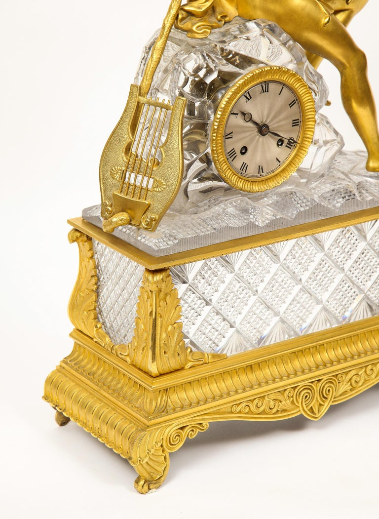Exquisite French Empire Ormolu and Cut-Crystal Clock, c. 1815 For Sale 4