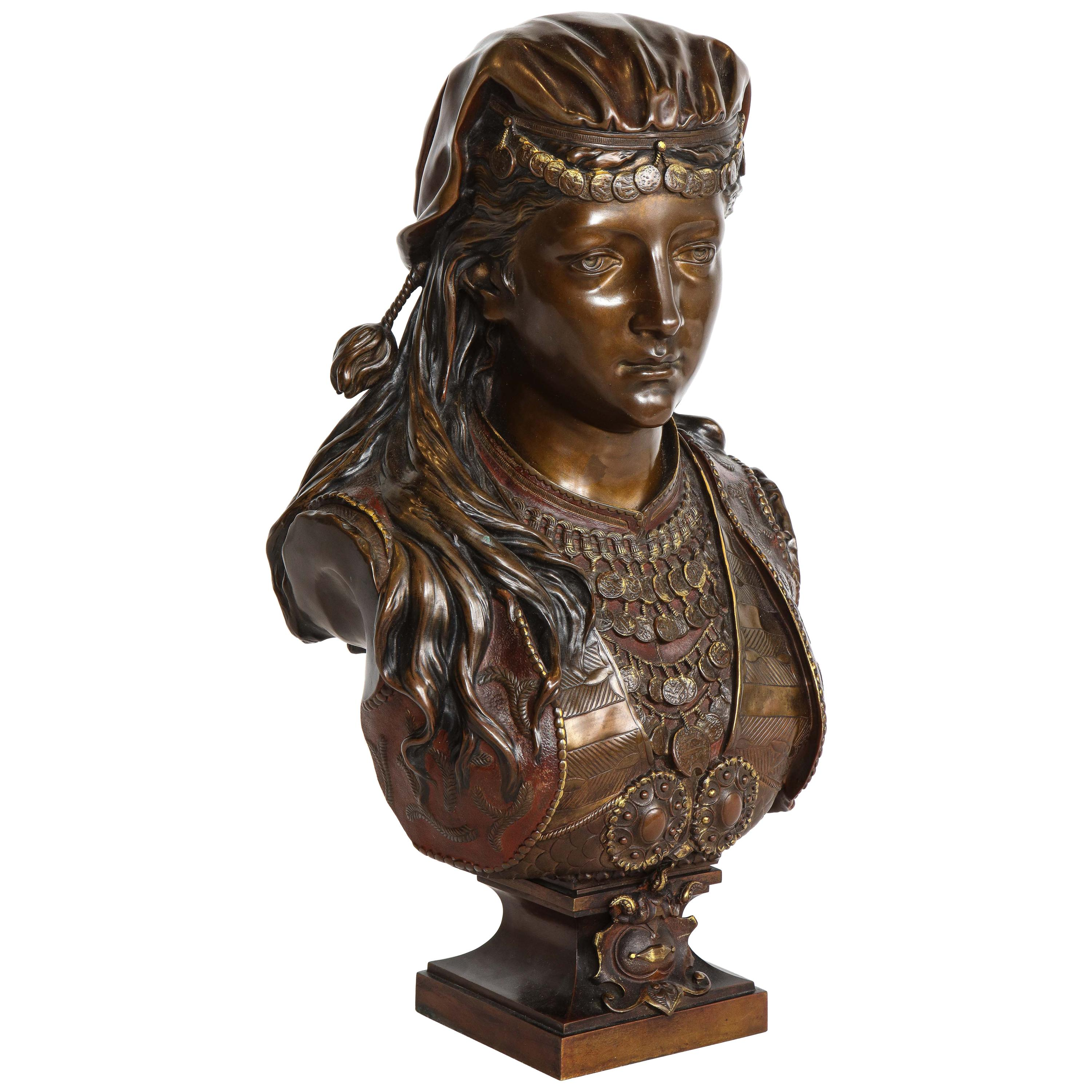 Exquisite French Multi-Patinated Orientalist Bronze Bust of Beauty, by Rimbez