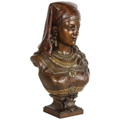 Exquisite French Multi-Patinated Orientalist Bronze Bust of Saida, by Rimbez