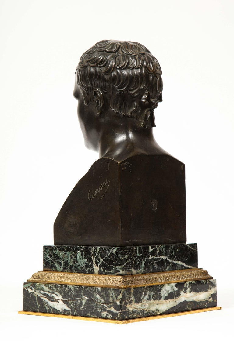 Exquisite French Patinated Bronze Bust of Emperor Napoleon I, after Canova For Sale 6