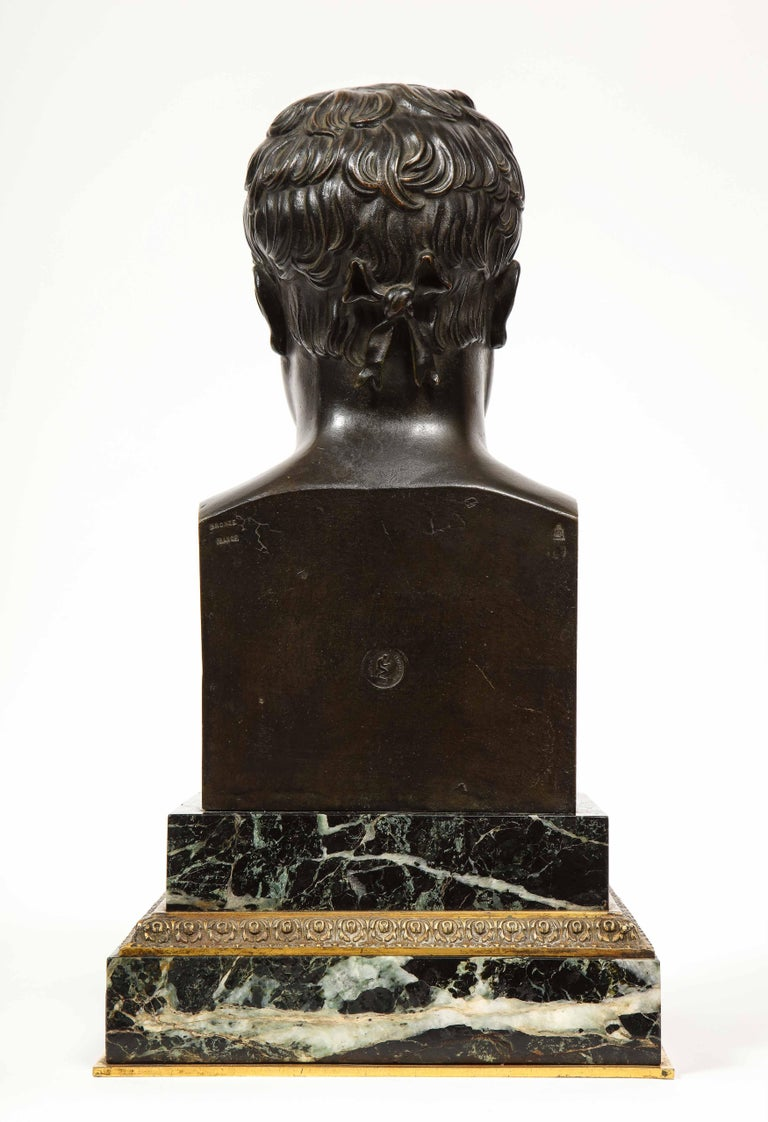Exquisite French Patinated Bronze Bust of Emperor Napoleon I, after Canova For Sale 8
