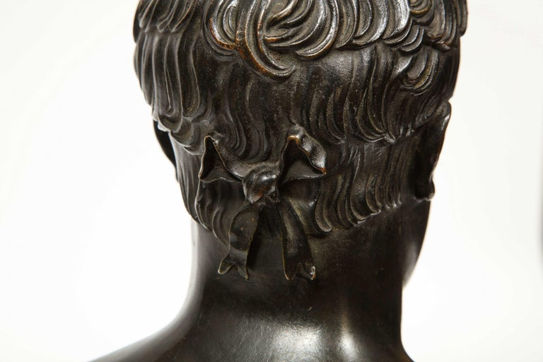 Exquisite French Patinated Bronze Bust of Emperor Napoleon I, after Canova For Sale 12
