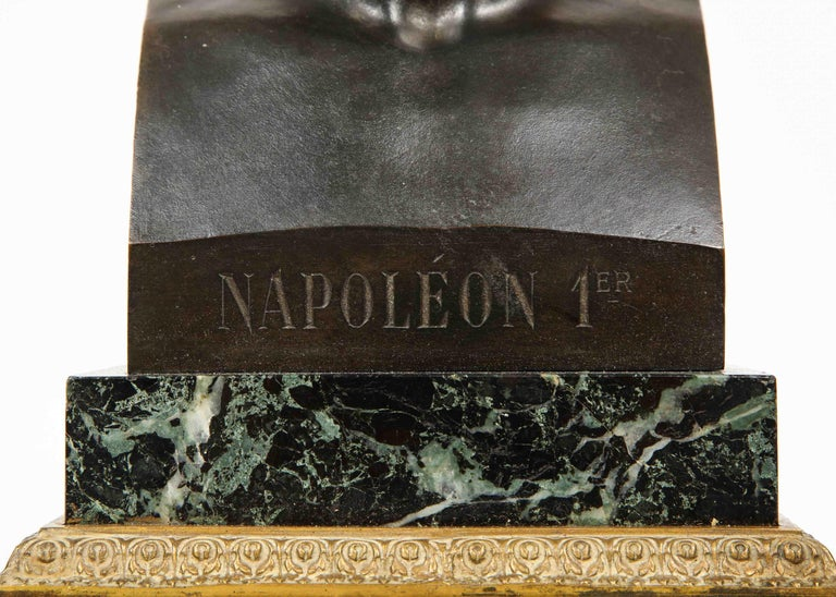 19th Century Exquisite French Patinated Bronze Bust of Emperor Napoleon I, after Canova For Sale