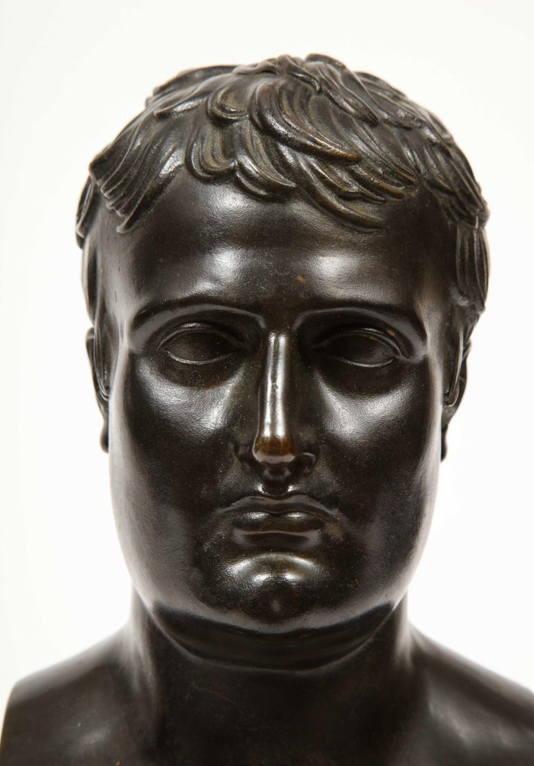 Exquisite French Patinated Bronze Bust of Emperor Napoleon I, after Canova For Sale 3