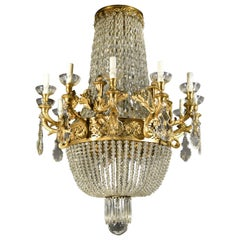 Exquisite Gilt Bronze and Crystal Chandelier