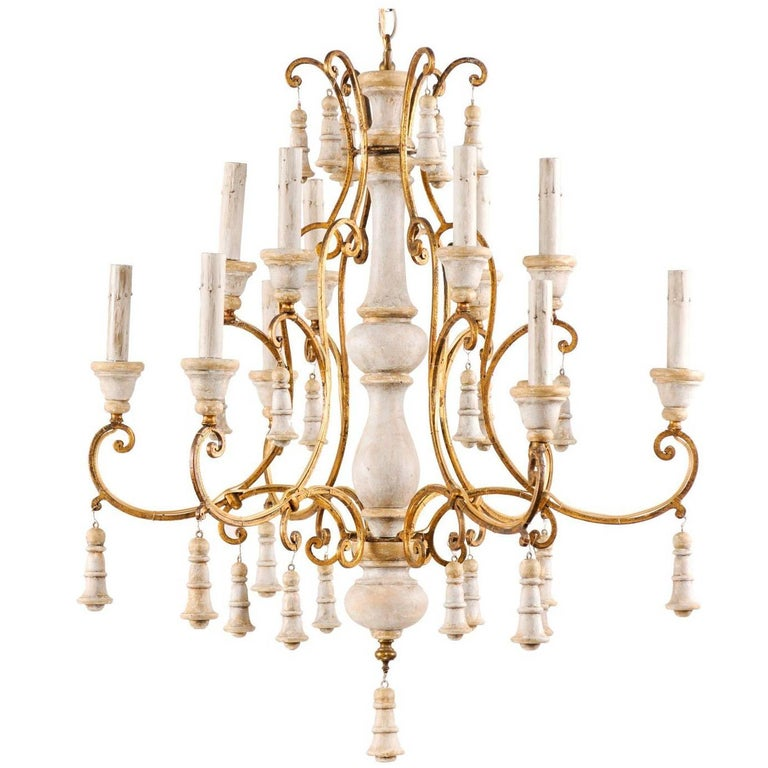 Exquisite Italian Two-Tiered Twelve-Light Carved, Painted and Gilded Chandelier
