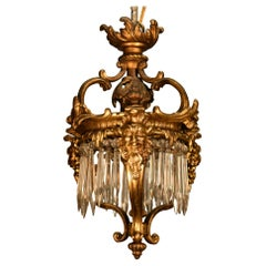 Exquisite Louis XV Style Pendant, Gilt Bronze and Crystal