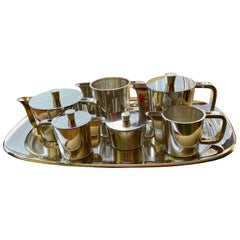 Extensive Silver Plated Gio Ponti Coffee and Tea Set on a Tray, Arthur Krupp