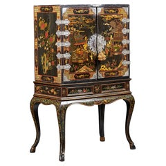 Extraordinary Chinoiserie Decorated Lacquered Cabinet, Circa 1730, Engliand