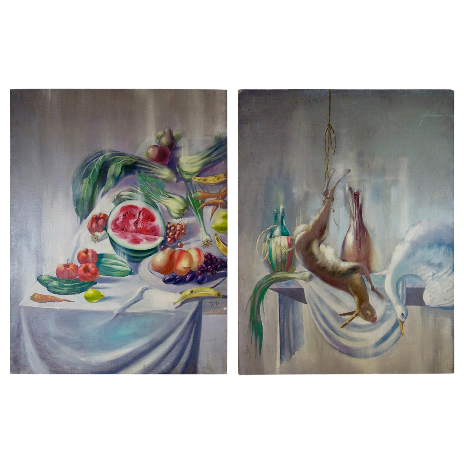 An Extremely Large Pair of Colourful Oil on Canvas Still Life Paintings Fruit