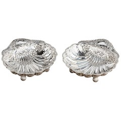 Extremely Pretty Pair of Edwardian Silver Shell Dishes