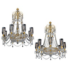 An Extremely Rare Pair of English Regency Period Chandeliers of Unusual Design