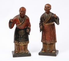 Extremely Rare Pair of George III Chinese Export Standing Nodding Head Figures